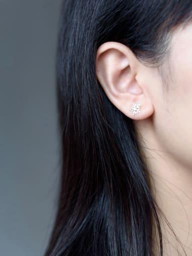 S925 Silver Fashion Snowflake Stud cuff earring