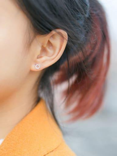 S925 Silver Simple Six Awn Star Stud cuff Earring