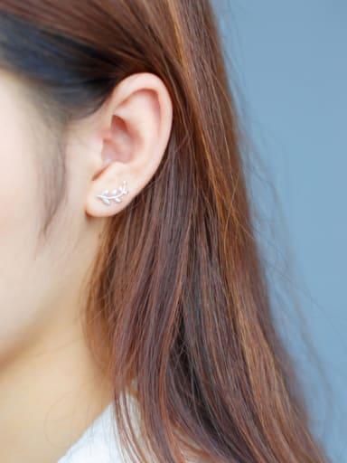 S925 Silver  Asymmetrical Leaves,Stud cuff earring