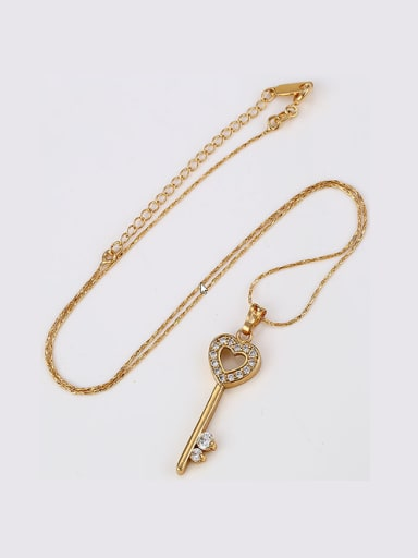 Copper 18K Gold Plated Fashion Love Key Zircon Necklace