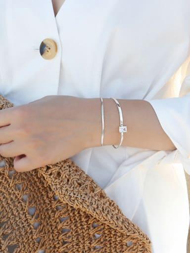 Sterling Silver minimalist drill with double Bracelet (golden silver color optional)