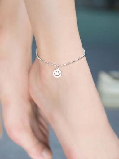 925 Sterling Silver With Platinum Plated Fashion smile Anklets