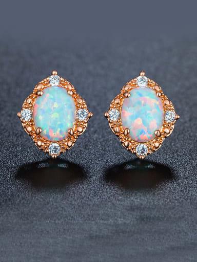 Opal Stone Zircon stud Earring