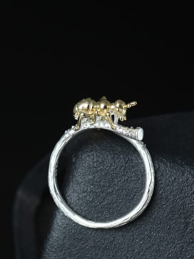 Cute Ant Color Plated Opening Ring