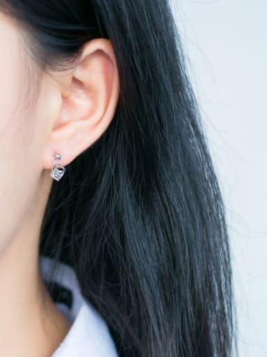 S925 Tremella nail Mori sweet female diamond love Rubik's cube short ear E3003 cuff earring