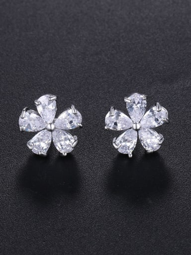 Copper With Platinum Plated Simplistic Flower Stud Earrings