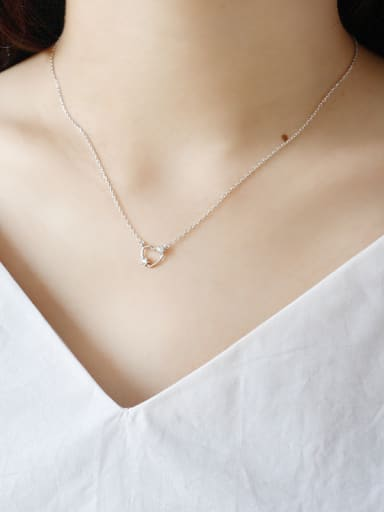 Sterling Silver with miniature zircon hollow heart Necklace