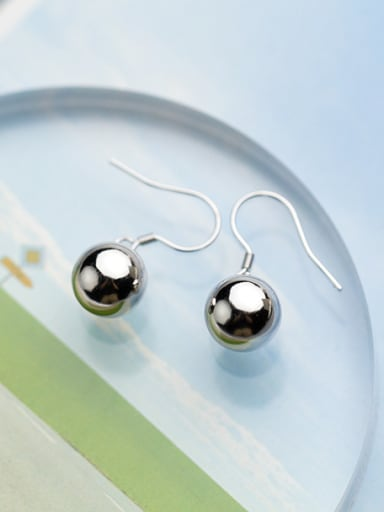 Women All-match Ball Shaped S925 Silver Drop Earrings