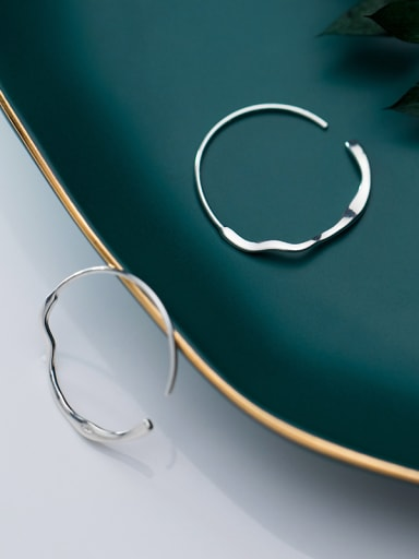 925 Sterling Silver With White Gold Plated Simplistic Smooth Round Hoop Earrings