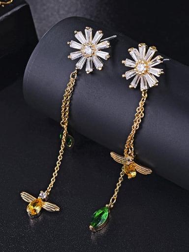 New flowers bees colorful zircons long Tassel Earrings