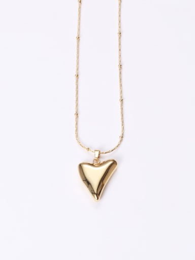 Titanium With Gold Plated Simplistic Smooth Heart Necklaces