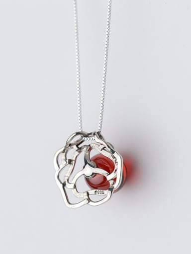 All-match Red Flower Shaped Stone S925 Silver Pendant