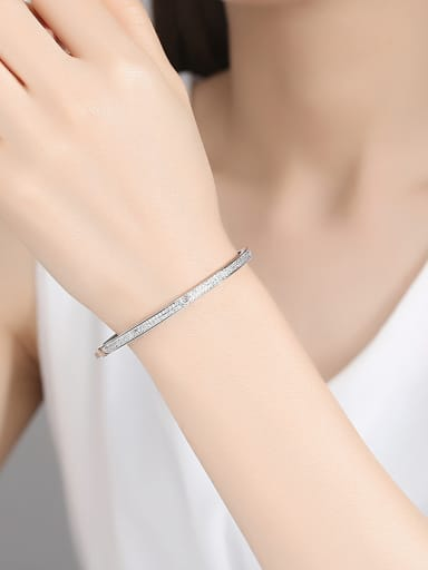 925 Sterling Silver With Gold Plated Simplistic Double Row zircon Bangles