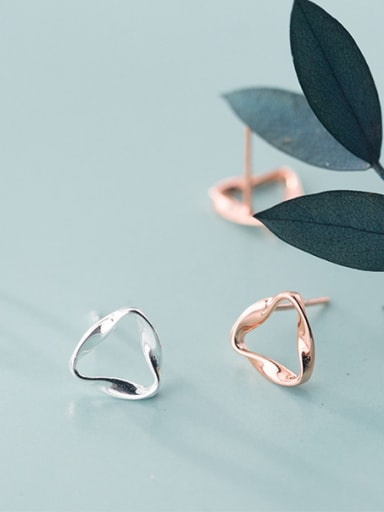 925 Sterling Silver With Glossy Simplistic Triangle Stud Earrings