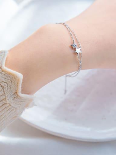 Temperament Double Layer Star Shaped Zircon Bracelet