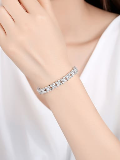 Copper With Platinum Plated Simplistic Geometric Bracelets