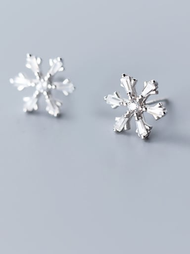 925 Sterling Silver With Cubic Zirconia Cute Snowflake Stud Earrings
