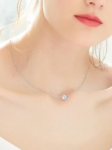 Simple Zircon Round Silver Necklace
