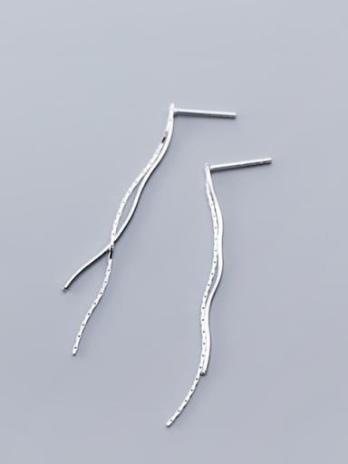 925 Sterling Silver With Glossy Simplistic Line Threader Earrings