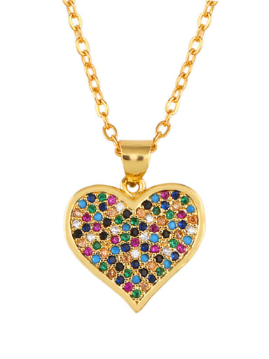 Copper With  Cubic Zirconia Classic Heart/cross Locket Necklace