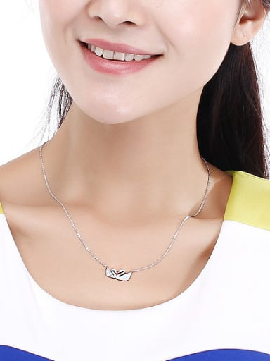 18K White Gold 925 Silver Swan Shaped Zircon Necklace