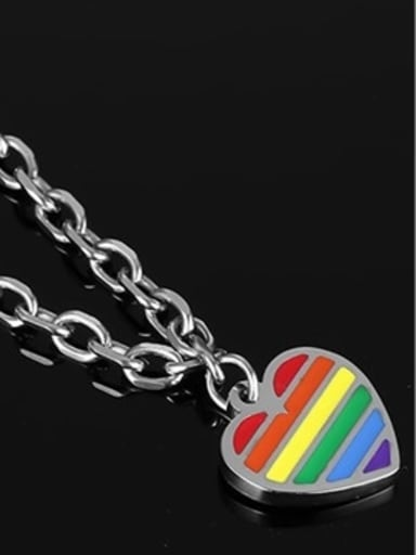 Exquisite Colorful Heart Shaped Glue Stainless Steel Bracelet