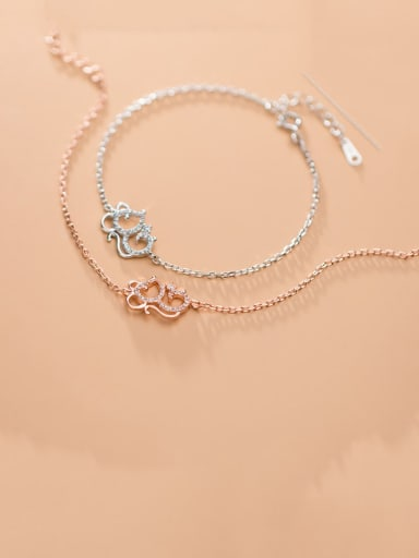 925 Sterling Silver With Platinum Plated Cute Mouse Bracelets