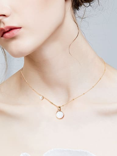 Fashion 925 Silver Round Opal Artificial Pearl Necklace