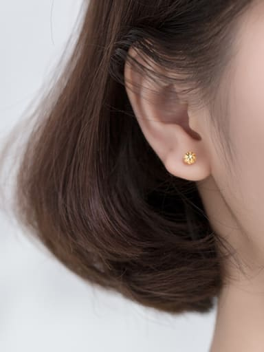 925 Sterling Silver With Gold Plated Rock Round Ball Pattern Ear Hook