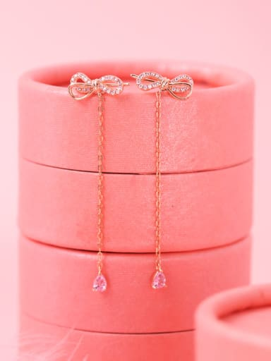 925 Sterling Silver With Cubic Zirconia Classic Bowknot Drop Earrings