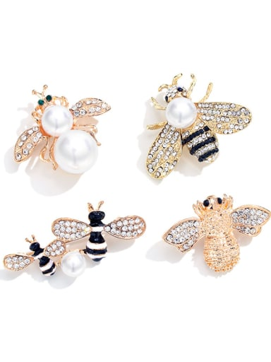 Copper With Rhinestone+Enamel Cute Insect honeybee Lapel Pins