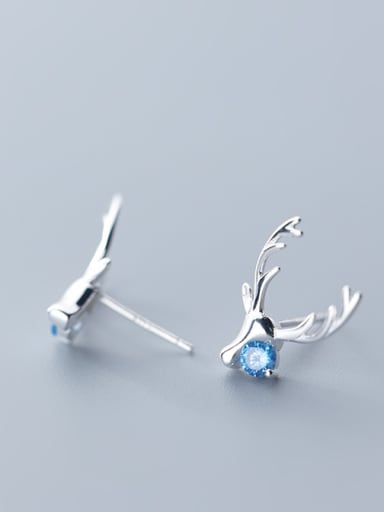 925 Sterling Silver With Silver Plated Cute Antler Stud Earrings