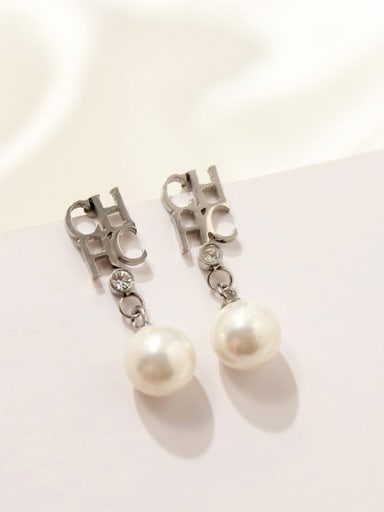 Titanium With  Artificial Pearl Personality Monogrammed Drop Earrings
