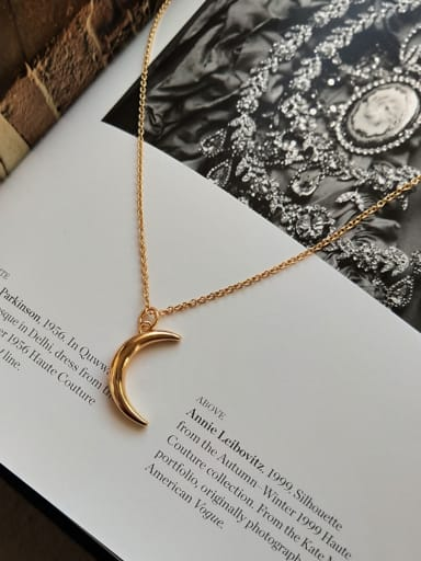 Sterling silver moon design gold necklace