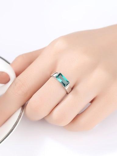 Sterling Silver square Green zircon ring
