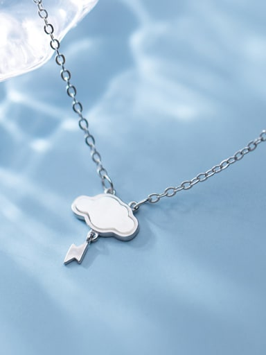 925 Sterling Silver With Rose Gold Plated Simplistic Clouds Pendant Necklaces