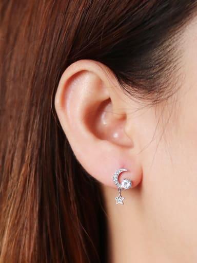 925 Sterling Silver With Cubic Zirconia Trendy Moon Star Drop Earrings