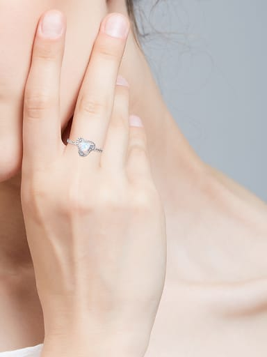 Fashion Opal stone Tiny Zirconias Triangle 925 Silver Ring