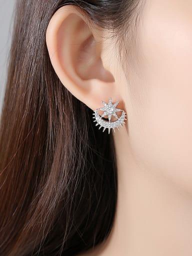 Copper With Cubic Zirconia  Fashion Star Tassel Drop Earrings