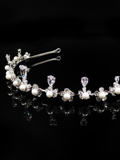 Artificial Pearls Flower-shape Zircons Copper Hair Accessories