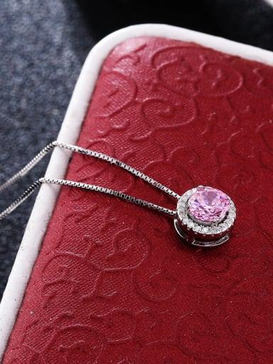 Luxury 925 Silver Round Shaped Zircon Necklace