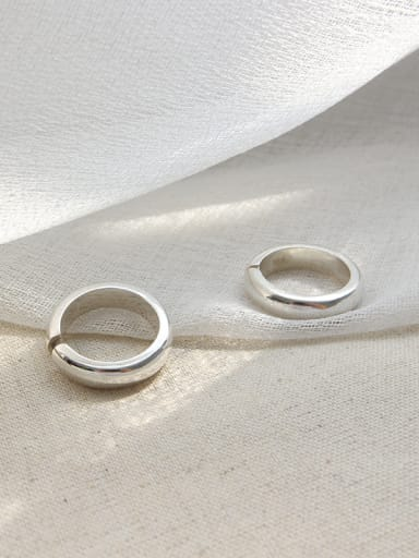 990 Sterling Silver Simplistic Glossy Free size Rings