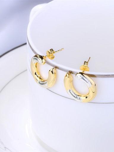 Double Color Letter U Shaped Stud Earrings