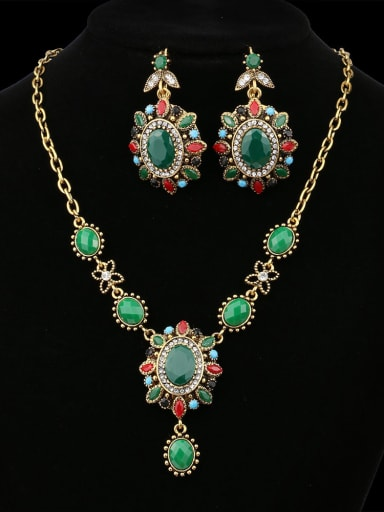Ethnic style Oval Green Resin stones Alloy Two Pieces Jewelry Set
