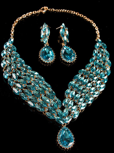 Blue Water Drop Glass Two Pieces Jewelry Set