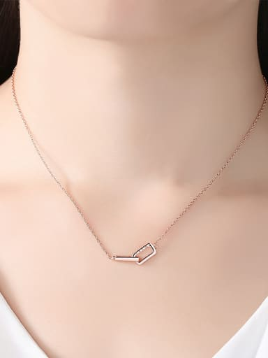 925 Sterling Silver With Rose Gold Plated Simplistic Geometric Necklaces