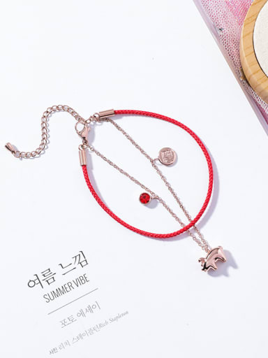 Titanium steel With Rose Gold Plated Cute Animal Pig Red rope Bracelets