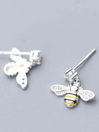 925 Sterling Silver With White Gold Plated Cute Insect Bee Stud Earrings