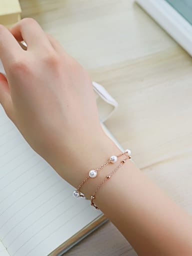 Stainless Steel With Rose Gold Plated Cute Round Bracelets