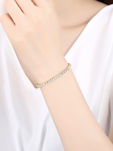 Copper With  Cubic Zirconia Simplistic Geometric Bracelets
